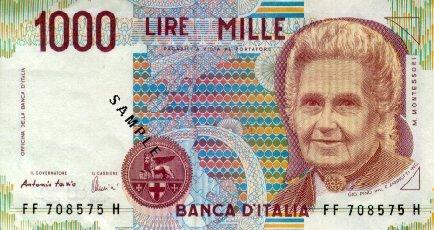 Maria Montessori représentée sur le dernier billet de 1000 lires italiennes