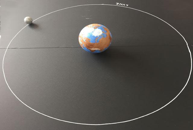 expérience Montessori international Bordeaux : système solaire, terre et lune
